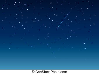 Shooting star in night sky. Vector background