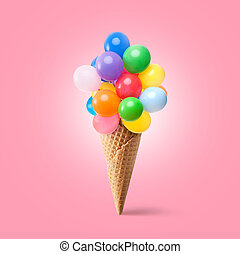 Waffle cornet with balloons isolated on pink