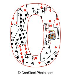 Number Zero Cards - Playing cards in random order as a...