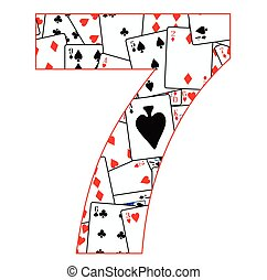 Number Seven Cards - Playing cards in random order as a...