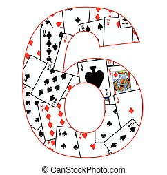 Number Six Cards - Playing cards in random order as a...