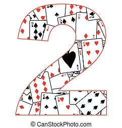 Number Two Cards - Playing cards in random order as a...