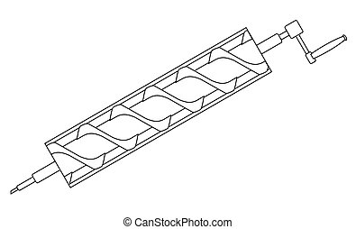 Archimedes Screw Line Drawing - A typical Archimedes screw...