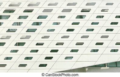 White exterior of modern hotel building with window