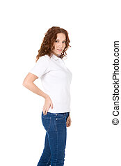 Young redhead woman in white polo shirt and jeans