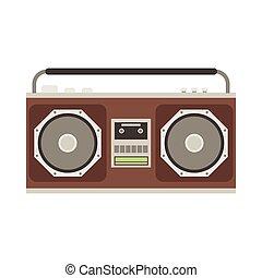 Cassette Tape Recorder - Retro tape recorder vector...