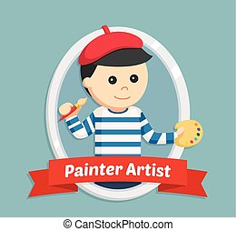 painter artist in emblem