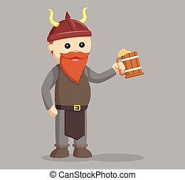 dwarf warrior with beer