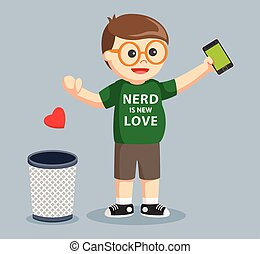 nerd throwing love into trash