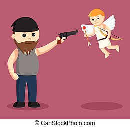 fat man aiming gun to cupid