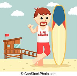 lifeguard with surf board