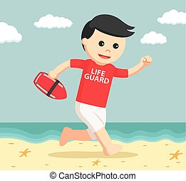 lifeguard running to rescue