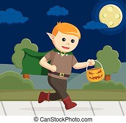 elf carrying pumpkin in halloween night