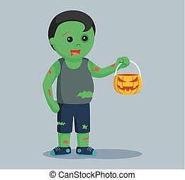 zombie with pumpkin candy bag