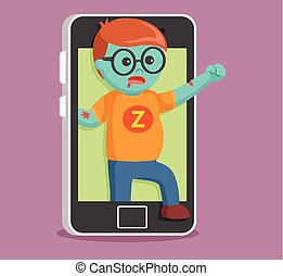 zombie came out from smartphone
