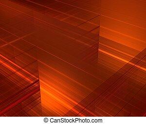 Fiery lines background - Technological orange fiery...