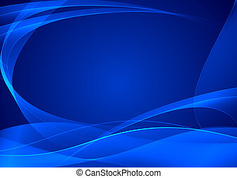 Abstract blue artistic background with the bent smooth lines...