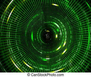 Digital matrix background - Digital abstract green...