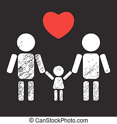 gay family kid - Gay couple with kid isolated on black...