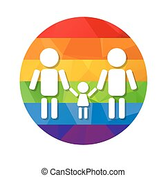 gay family rainbow - Gay couple with kid and rainbow frame...