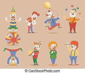 lindo, diferente, Conjunto, divertido, posiciones, iconos, carácter, Ilustración,  vector, payasos, acciones, diseño, caricatura,  Retro