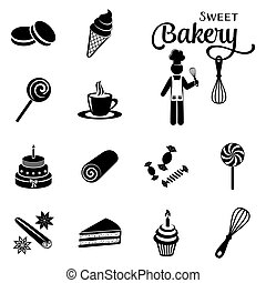 Bakery and sweets silhouette icons collection - Black vector...