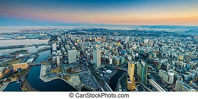 Aerial pamorama view of Yokohama Cityscape at Minato Mirai...