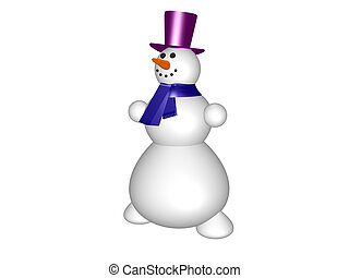 Snow man - Isolated merry snow man on a white background