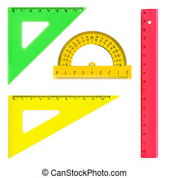 Multicolored rulers isolated on white background