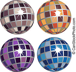 Set of Four Disco Balls