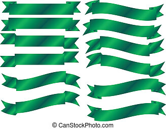 Set of 12 Green Banners in different waves