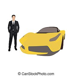Man in suit with yellow super car, vector illustration.