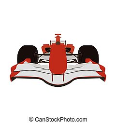 Formula racing car, red sports car, vector isolated...