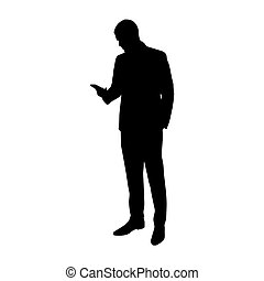 Business man with cell phone in his hand, vector silhouette....