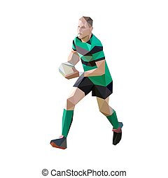 Runnung rugby player with ball, polygonal vector illustration