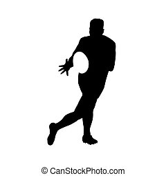 Running rugby player catching ball, vector silhouette
