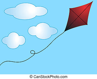 Run Away Kite - Run away kite on a partly cloudy background