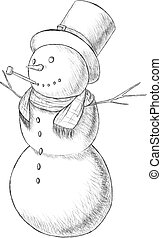 Christmas hand drawn pen vector illustration - snowman in tall hat with pipe, vintage style.