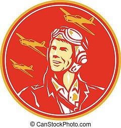 World War 2 Pilot Airman Fighter Plane Circle Retro -...