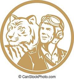 World War 2 Pilot Airman Tiger Gold Circle Retro -...