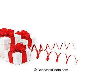 Gifts in white boxes with red ribbons - Gifts in white boxes...