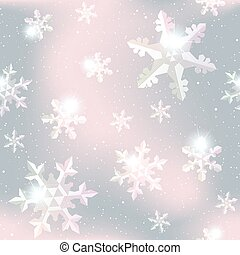 Seamless snowflake pattern in grey and pink - Seamless...