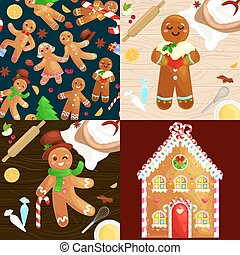 set christmas cookies gingerbread man and girl near sweet...