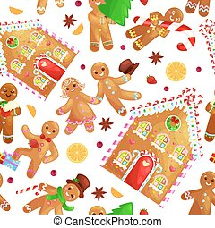 seamless pattern christmas cookies gingerbread man and girl...