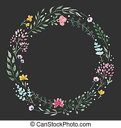 Hand drawn watercolor wreath - Beautiful wreath with nice...