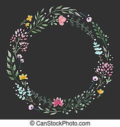 Hand drawn watercolor wreath - Beautiful wreath with nice...