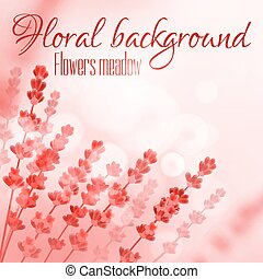 Floral pink background with flower meadow - Floral...