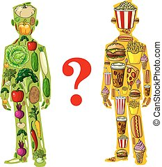 Gluttony or diet human nutrition icons