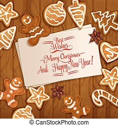 Christmas gingerbread cookie on wooden background -...