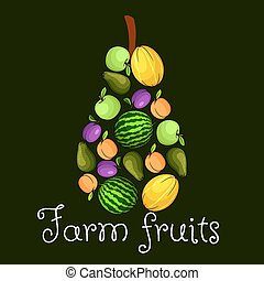 Farm fruits flat icons in shape of pear emblem